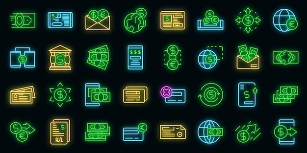 Geld overmaken pictogrammen instellen vector neon