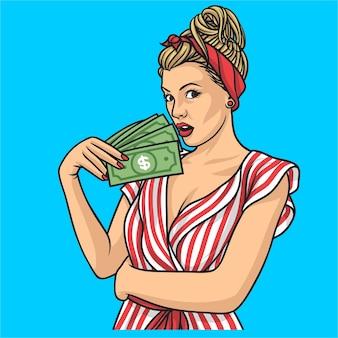 Geld pin-up, vrouwen schattig
