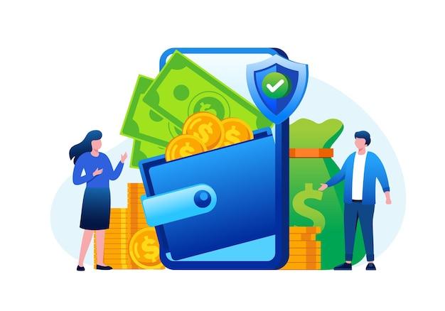 Geld portemonnee verdienen concept online betaling platte vectorillustratie voor banner en bestemmingspagina