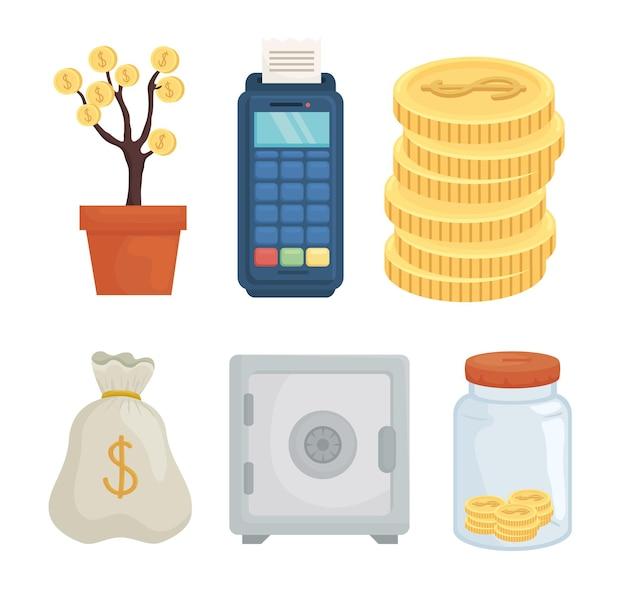 Geld set van financiële zaken bancaire handel en markt thema vectorillustratie