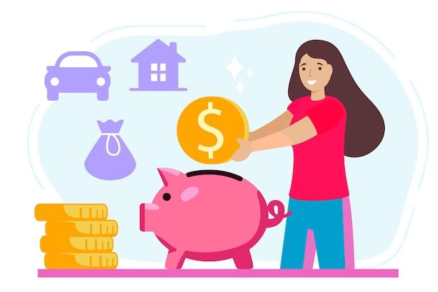 Geld spaarvarken vectoren zetten gelukkige vrouw munt in spaarvarken vector ontwerp illustratie zetten