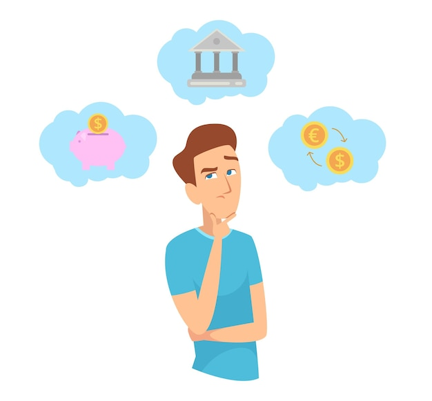 Geld sparen. man na te denken over investeringen. financiën planning, budget en bedrijfsconcept.