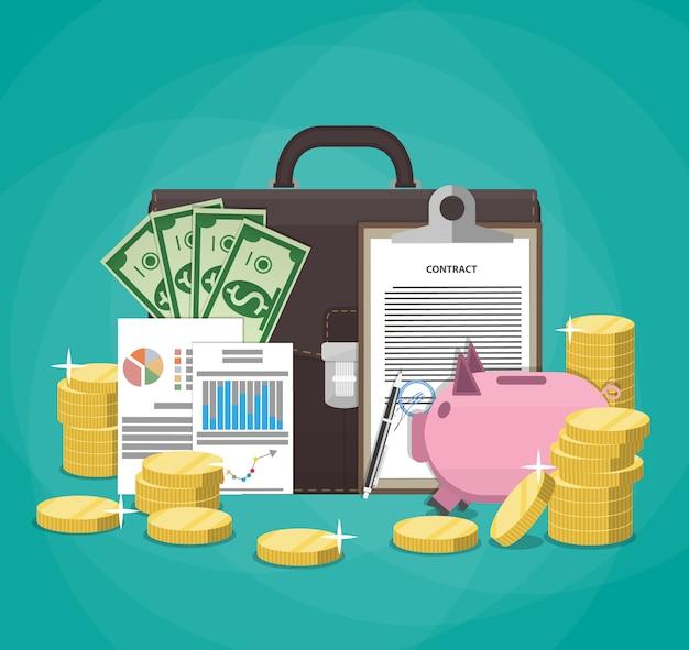 Geld sparen. zakelijk, financieel en investeringsconcept.