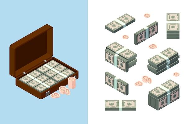 Geld stapelen. amerikaanse dollars en gouden munten in koffer