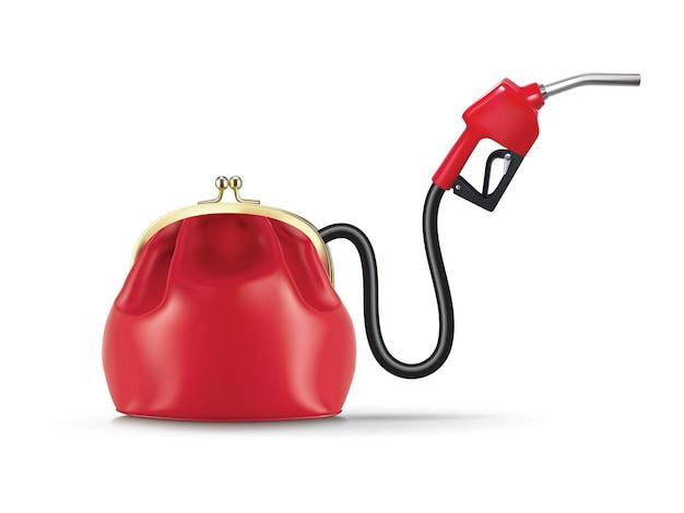 Geld stroomt uit de portemonnee via het brandstofmondstuk