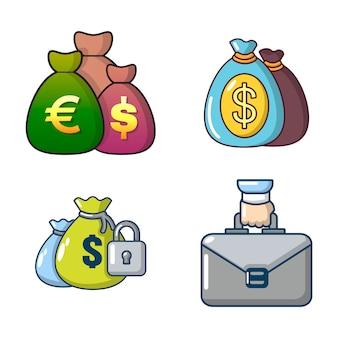 Geld tas pictogramserie. beeldverhaalreeks vectorpictogrammen van de geldzak geplaatst geïsoleerd