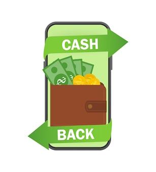 Geld terug illustratie met portemonnee in mobiel