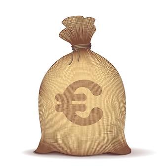 Geld terug met eurosymbool op witte achtergrond