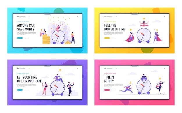 Geld tijd concept met wekker en mensen uit het bedrijfsleven