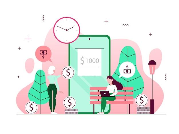 Geld transactie concept. online overmaken en betalen via de smartphone. financiële verrichtingen in mobiele bank. illustratie