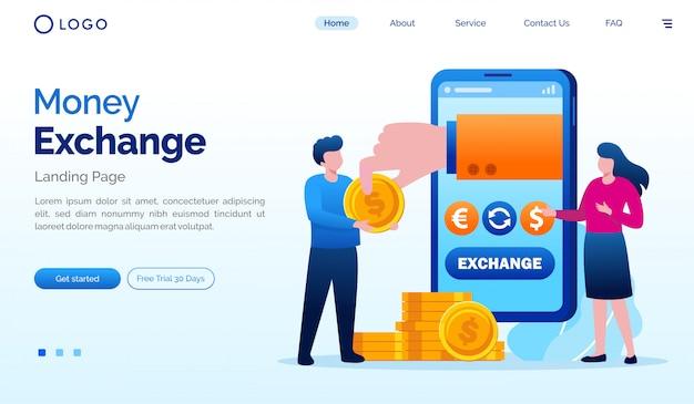 Geld uitwisseling bestemmingspagina website illustratie vector sjabloon