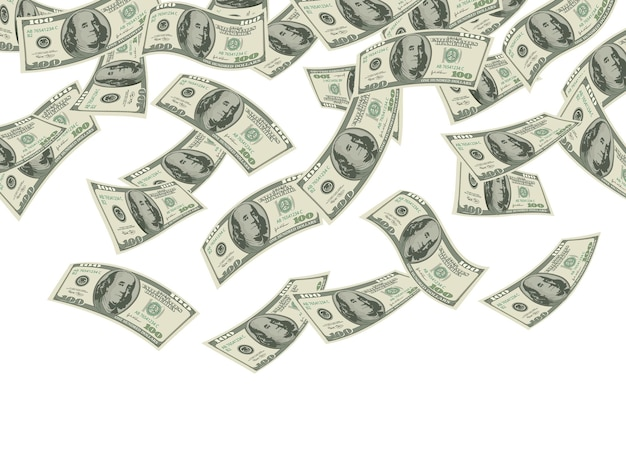 Geld valt. business concept dollar bankbiljetten contant geld regen economische investeringen producten rijkdom achtergrond.