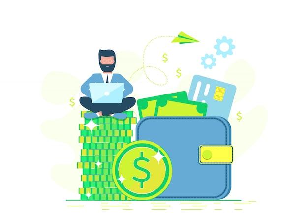Geld verdienen. . freelance, werk op afstand, werk op afstand. mensen uit het bedrijfsleven. man met laptop zittend op portemonnee.