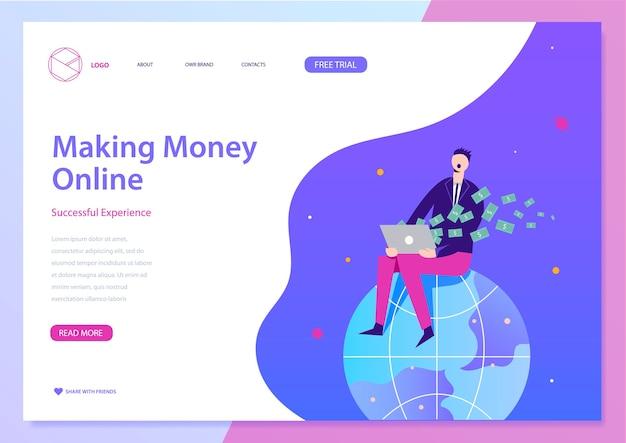 Geld verdienen online illustratie, web bestemmingspagina concept. man zit op aarde, geld te verdienen met laptop.