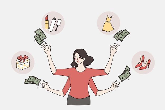 Geld verspillen en shopaholic concept. jonge vrouw met veel handen die geld om haar heen gooit om verschillende goederen te kopen vectorbeelden