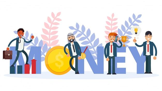 Geld voor bedrijfsmensenconcept, illustratie. sjabloon financiën man karakter, succes investering munt.