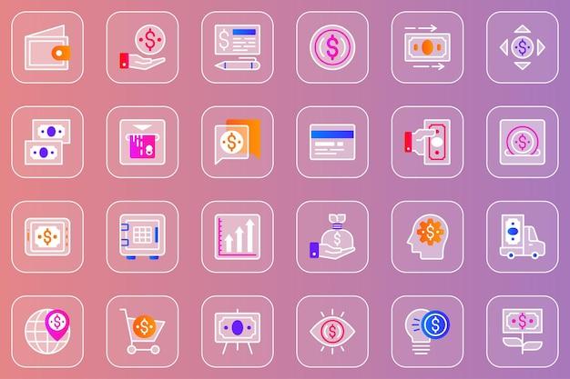 Geld web glassmorphic pictogrammen set