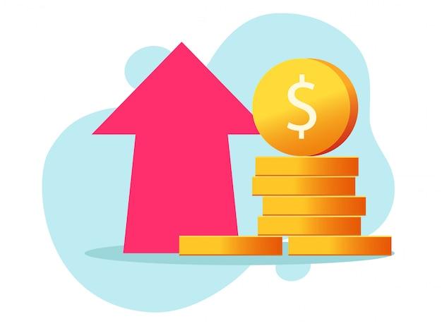 Geld winst groei pictogram of voordeel van economie contant geld investering grafiek illustratie