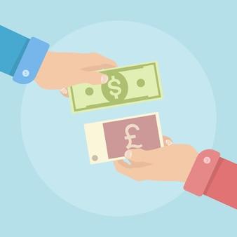 Geld wisselen. economisch proces om dollar, pond sterling te verhandelen