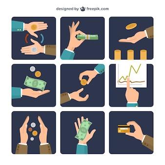 Geld wisselen pictogrammen