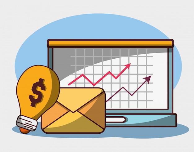 Geld zakelijke financiële laptop e-mail winst pijl economie