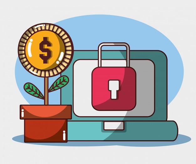 Geld zakelijke financiële laptop plant munt beveiliging veiligheid investering