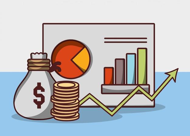 Geld zakelijke financiële strategie rapport grafiek geld tas munten
