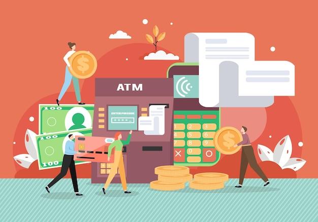 Geldautomaat en mobiele telefoon met facturen.