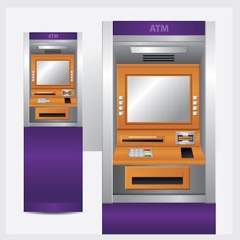 Geldautomaat. vector illustratie automatische tellermachine