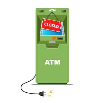 Geldautomaat werkt niet meer. hangende rode plaat gesloten. crisis in het bankwezen