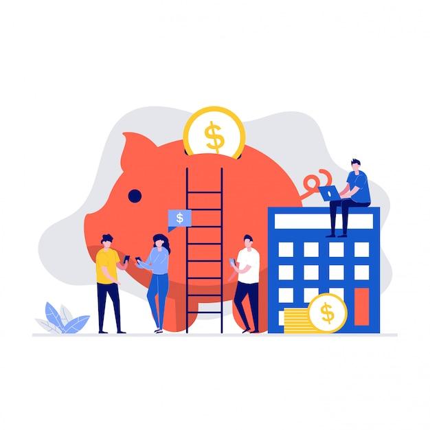 Geldbesparende illustratie concept met karakters, spaarvarken, rekenmachine, munten.