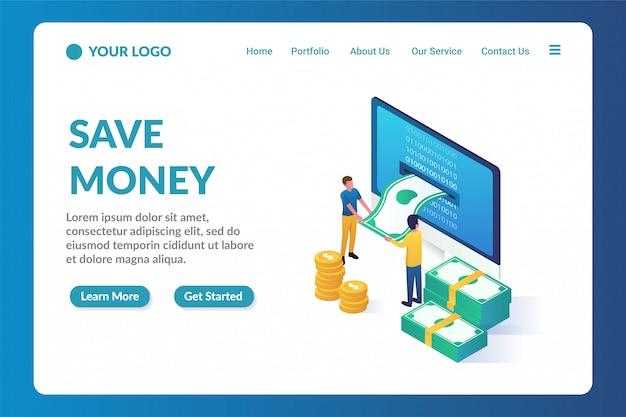 Geldbesparende isometrische website bestemmingspagina sjabloon