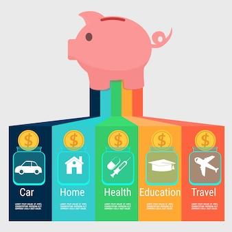 Geldbesparende planning infographics sjabloon