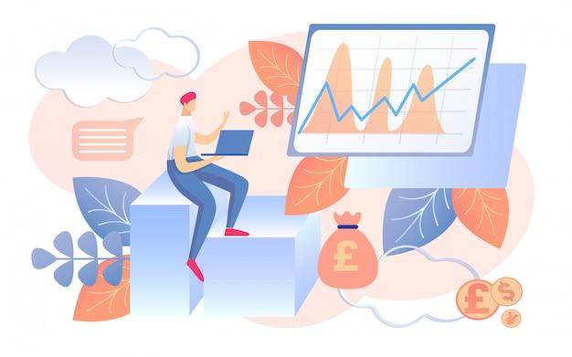 Geldbesparingen inkomen concept grafiek groeien op scherm