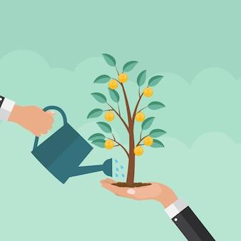 Geldboom, de financiële illustratie van het de groei vlakke concept