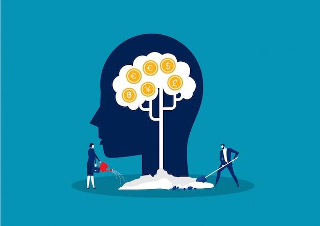 Geldboom, inkomen groeiend metafoor succes investering concept