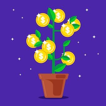 Geldboom met munten in plaats van fruit.