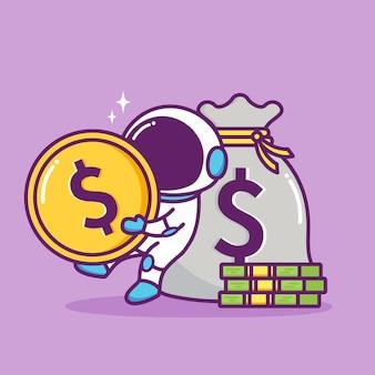 Geldconcept opslaan met schattige astronaut
