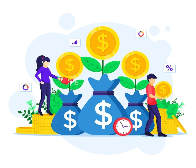 Geldinvestering, mensen geldboom water geven, munten verzamelen, financiële winstillustratie vergroten