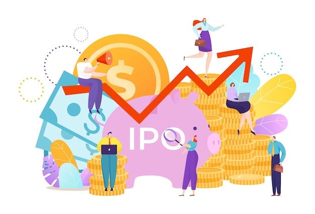 Geldinvestering voor zakelijke ipo met muntstuk