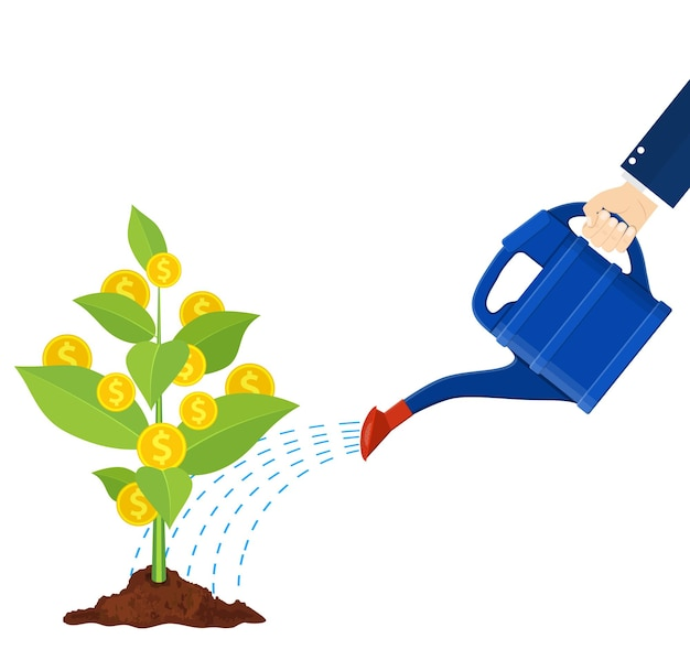 Geldmuntboom water geven met blikje. groeiende geldboom. investering, investering. gouden munten op takken