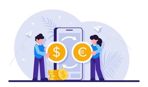 Geldoverboeking met mobiele app.