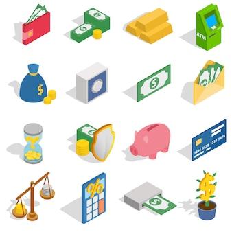 Geldpictogrammen in isometrische die 3d stijl worden op witte achtergrond worden geïsoleerd geplaatst die