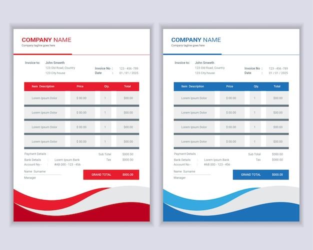 Geldrekeningen of sjabloon voor prijsfacturen.
