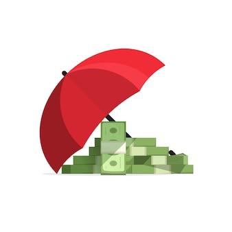 Geldstapel verzekerde dekking met paraplu, beschermd geld