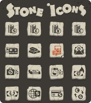 Geldsymbolen vector iconen voor web- en gebruikersinterfaceontwerp