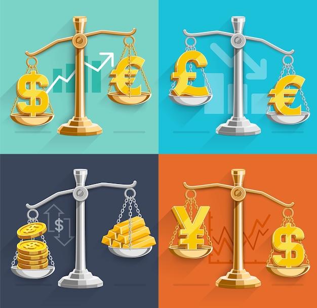 Geldtekenpictogrammen en goudstaven op de weegschaal. illustraties.