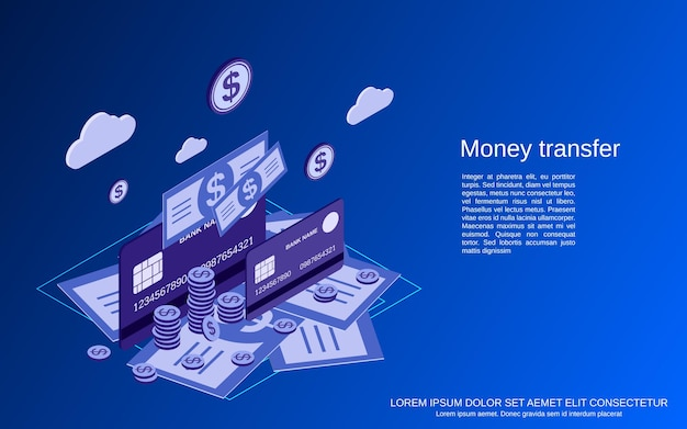 Geldtransactie, financiële overboeking, online bankieren plat isometrisch concept