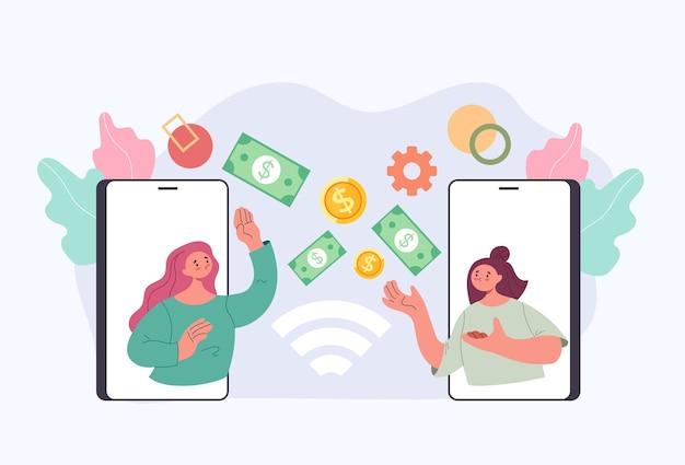 Geldtransactie van telefoon naar telefoon draadloos mobiel financiëntechnologieconcept