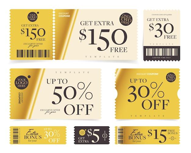 Geldwaarde of percentage korting bonus coupon sjabloon set.